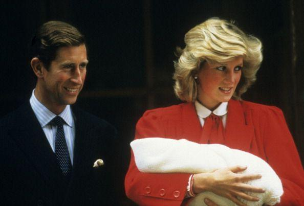 <p>Diana stands in front of Saint Mary's Hospital to present her new son, Prince Henry Charles Albert David (later known as Prince Harry of Wales), on September 17, 1984. </p>