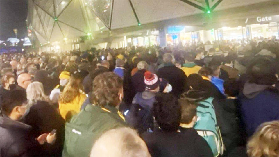 Wallabies fans, pictured here waiting to get into AAMI Park.