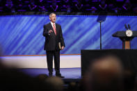 FILE - In this Sunday, June 28, 2020 file photo, Senior Pastor Dr. Robert Jeffress addresses attendees before Vice President Mike Pence made comments at the Southern Baptist megachurch First Baptist Dallas during a Celebrate Freedom Rally in Dallas. In the days after the Nov. 3, 2020 election, Jeffress said it was premature to be talking about a Biden presidency, noting that Al Gore and George W. Bush spent weeks contesting the results of the 2000 election before the Supreme Court ruled in Bush's favor. (AP Photo/Tony Gutierrez)