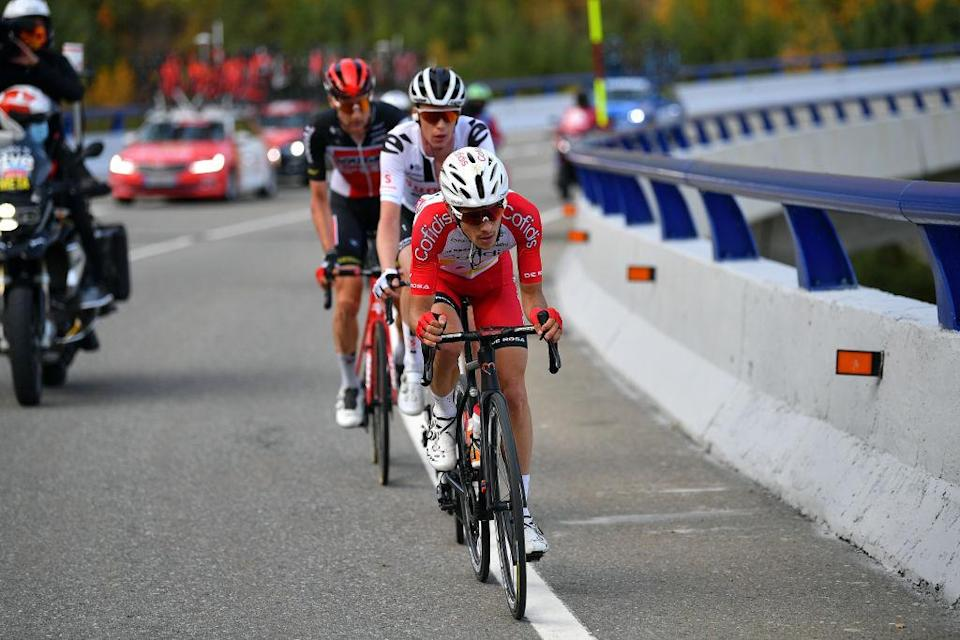 SABIANIGO SPAIN  OCTOBER 24 Guillaume Martin of France and Team Cofidis Solutions Credits  Thymen Arensman of The Netherlands and Team Sunweb  Tim Wellens of Belgium and Team Lotto Soudal  Breakaway  during the 75th Tour of Spain 2020 Stage 5 a 1844km Huesca to Sabinigo 835m  lavuelta  LaVuelta20  La Vuelta  on October 24 2020 in Sabinigo Spain Photo by Justin SetterfieldGetty Images