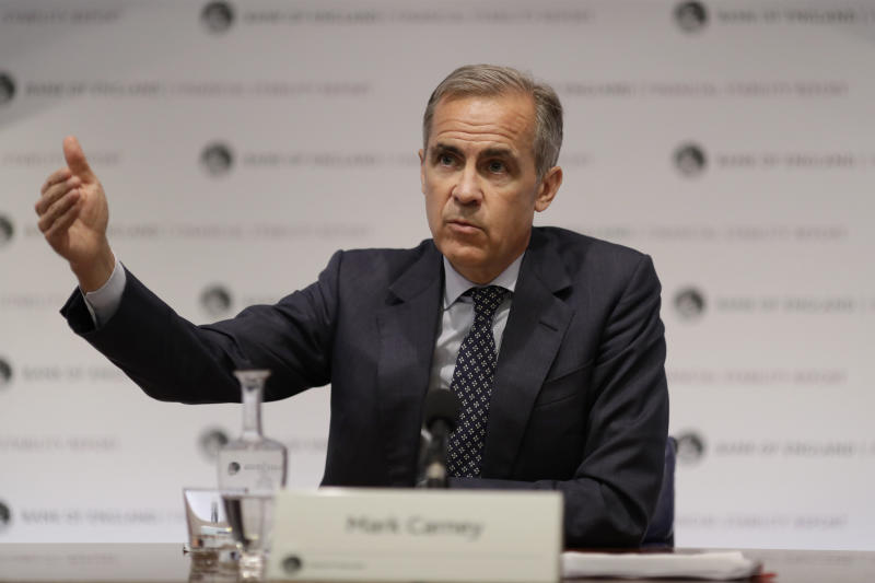 Mark Carney the Governor of the Bank of England speaks during a Financial Stability Report press conference at the Bank of England in the City of London, Thursday, July 11, 2019. (AP Photo/Matt Dunham, Pool)