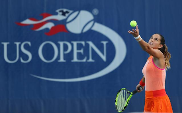 <p>Amandine Hesse of France serves during her first round Women's Singles match against Shuai Peng of China on Day One of the 2017 US Open at the USTA Billie Jean King National Tennis Center on August 28, 2017 in the Flushing neighborhood of the Queens borough of New York City. (Photo by Richard Heathcote/Getty Images) </p>