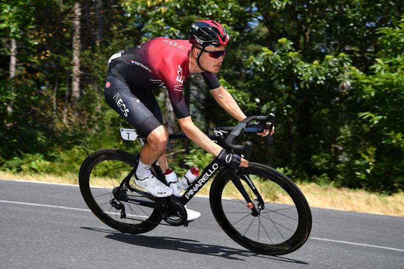 Dylan van Baarle (Team Ineos) descends during the opening stage of the 2020 Route d'Occitanie
