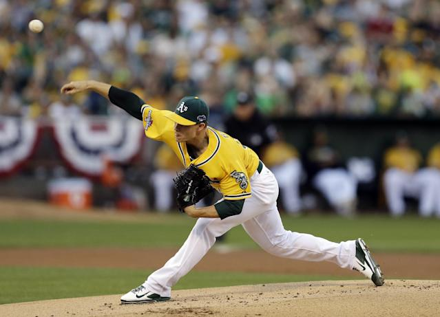 Oakland Athletics starting pitcher Sonny Gray delivers a pitch in the first inning in Game 2 of the American League baseball division series against the Detroit Tigers in Oakland, Calif., Saturday, Oct. 5, 2013. (AP Photo/Ben Margot)
