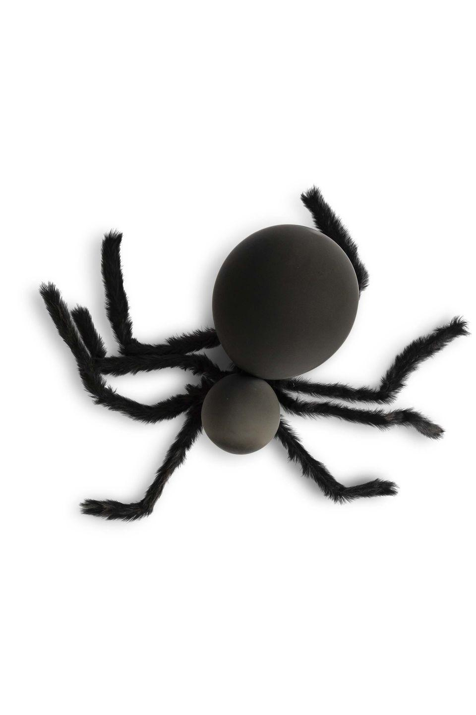 """<p>Make a cluster of these creepy-crawlies in different sizes to hang outside. </p><p><strong>Make the body:</strong> Blow up one large black balloon for the body and one smaller black balloon for the head. Tie the two balloon knots together to form the spider.</p><p><strong>Make the legs: </strong>Wrap eight lengths of unfurled wire hanger or 12-gauge craft wire with black faux fur, holding in place with hot-glue. Twist ends of four lengths together, creating bundles of legs. Repeat with remaining four lengths.</p><p><strong>Assemble the spider: </strong>Wrap a black pipe cleaner around twisted ends of leg bundles. Wrap pipe cleaner around """"neck"""" of spider where balloons are tied together. Wrap fishing wire around leg to hang. </p>"""