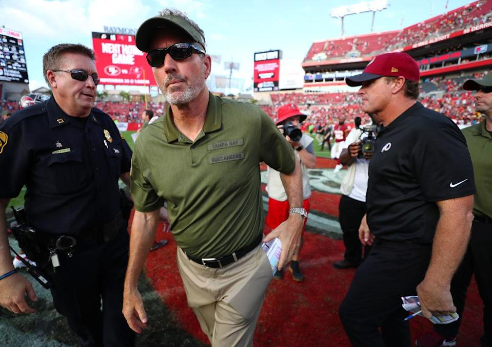 Tampa Bay Bucs coach Dirk Koetter suffered through an ugly afternoon. (Getty)