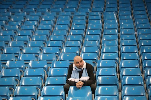 <p>This Manchester City fan was left feeling frustrated after an exciting draw with Liverpool </p>