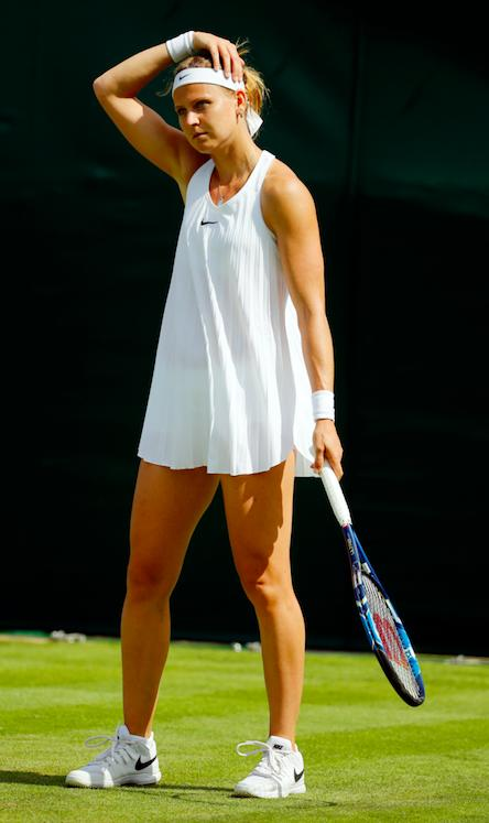 6a964acc34 ... while Czech player Lucie Hradecka decided to team her dress with a pair  of long white leggings