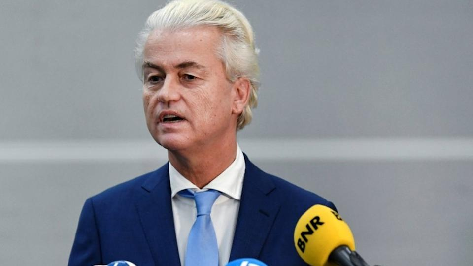 Dutch anti-Islam politician Geert Wilders speaks to the media following the verdict in his appeal in Schiphol near Amsterdam, Netherlands