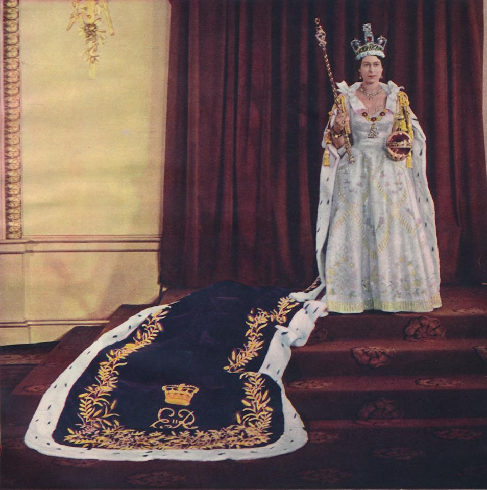 For her Coronation in 1953, Queen Elizabeth II turned to her royal wedding dress designer, Norman Hartnell, to create a regal gown that incorporated imagery representative of the countries in the U.K. as well as the Commonwealth.