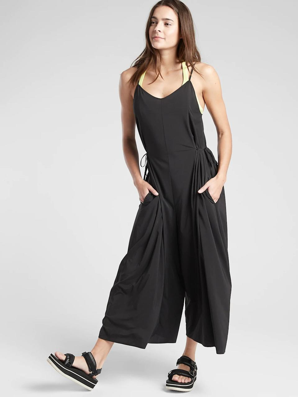 """<h3><a href=""""https://athleta.gap.com/browse/category.do?cid=1026746&nav=meganav%3ASALE%3AFEATURED%20SHOPS%3ANew%20Markdowns"""" rel=""""nofollow noopener"""" target=""""_blank"""" data-ylk=""""slk:Athleta"""" class=""""link rapid-noclick-resp"""">Athleta</a></h3><br><strong>Dates: </strong>Limited time<br><strong>Sale: </strong><a href=""""https://athleta.gap.com/browse/category.do?cid=1026746&nav=meganav:SALE:FEATURED%20SHOPS:New%20Markdowns"""" rel=""""nofollow noopener"""" target=""""_blank"""" data-ylk=""""slk:New markdowns"""" class=""""link rapid-noclick-resp"""">New markdowns</a><br><strong>Promo Code: </strong>None<br><br>We came for the top-rated face masks, but stayed for the activewear brand's wearable range of sporty, easy separates, <a href=""""https://athleta.gap.com/browse/category.do?cid=1026746&nav=meganav:SALE:FEATURED%20SHOPS:New%20Markdowns"""" rel=""""nofollow noopener"""" target=""""_blank"""" data-ylk=""""slk:newly marked down"""" class=""""link rapid-noclick-resp"""">newly marked down</a> (and not likely to stay in stock for long).<br><br><br><br><strong>Athleta</strong> Sayulita Jumpsuit, $, available at <a href=""""https://go.skimresources.com/?id=30283X879131&url=https%3A%2F%2Fathleta.gap.com%2Fbrowse%2Fproduct.do%3Fpid%3D446865022%26cid%3D1148297%26pcid%3D1148297%23pdp-page-content"""" rel=""""nofollow noopener"""" target=""""_blank"""" data-ylk=""""slk:Athleta"""" class=""""link rapid-noclick-resp"""">Athleta</a>"""