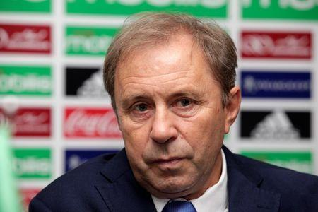 Serbian Milovan Rajevac, newly appointed coach of Algeria's national football team, attends a news conference at the Mohamed-Boudiaf Olympic Stadium in Algiers, Algeria, July 14, 2016. REUTERS/Ramzi Boudina