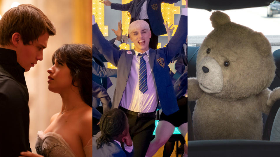 'Cinderella', 'Everybody's Talking About Jamie' and 'Ted 2' are all coming to Amazon Prime Video UK in September 2021. (Amazon/Universal)
