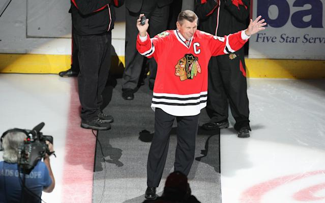 """Stan Mikita, who played for the <a class=""""link rapid-noclick-resp"""" href=""""/nhl/teams/chicago/"""" data-ylk=""""slk:Chicago Blackhawks"""">Chicago Blackhawks</a> for more than two decades, suffered from CTE at the time of his death last year. (Jonathan Daniel/Getty Images)"""