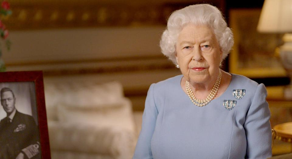 EMBARGOED: NOT FOR PUBLICATION OR ONWARD DISTRIBUTION BEFORE 2100 BST Friday May 8, 2020. Buckingham Palace handout image of Queen Elizabeth II during her address to the nation and the Commonwealth on the 75th anniversary of VE Day.