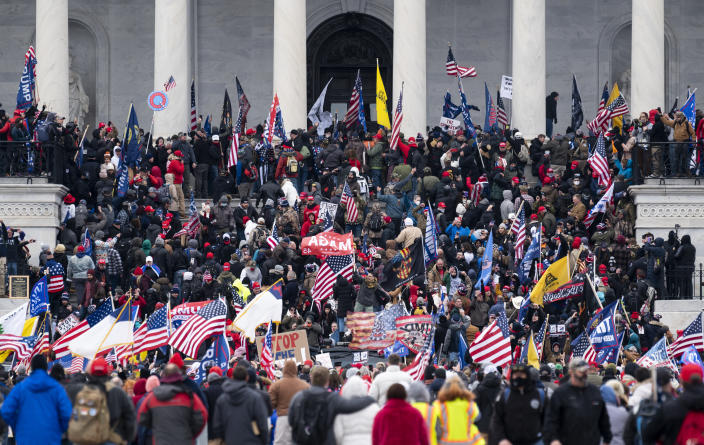 Trump supporters take over the steps of the Capitol on Wednesday, Jan. 6, 2021, as the Congress works to certify the electoral college votes. (Bill Clark/CQ-Roll Call, Inc via Getty Images)