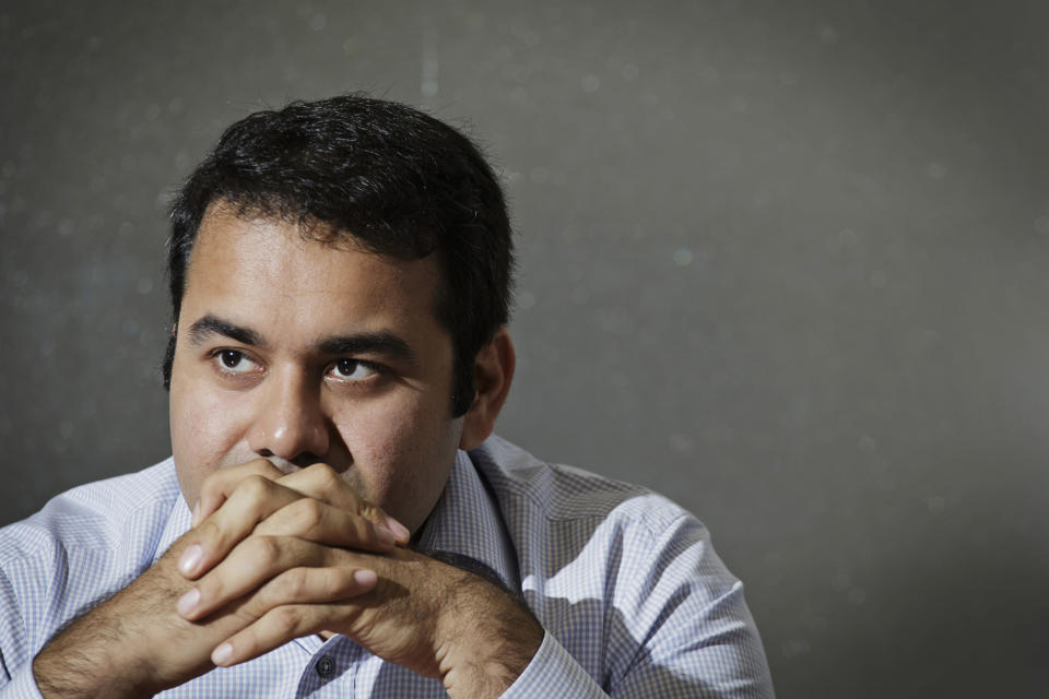 Kunal Bahl, chief executive officer of Snapdeal.com, listens during an interview in New Delhi. (Photographer: Kuni Takahashi/Bloomberg)