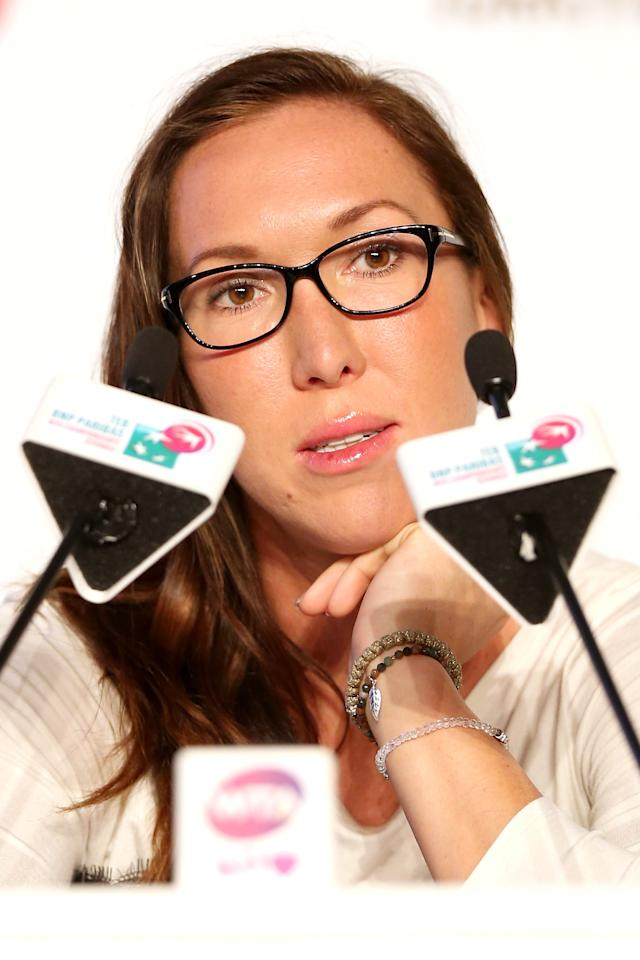 ISTANBUL, TURKEY - OCTOBER 21: Jelena Jankovic of Serbia fields questions from the media at the WTA All Access Hour before the start of the WTA Championships at the Renaissance Polat Hotel on October 21, 2013 in Istanbul, Turkey. (Photo by Matthew Stockman/Getty Images)