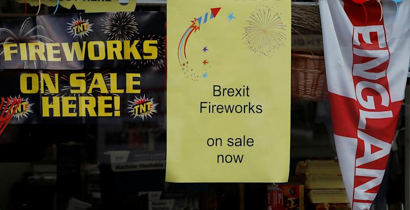A sign advertising the sale of 'Brexit Fireworks' is seen in the window of a hardware store near Manchester, Britain, October 28, 2019. REUTERS/Phil Noble
