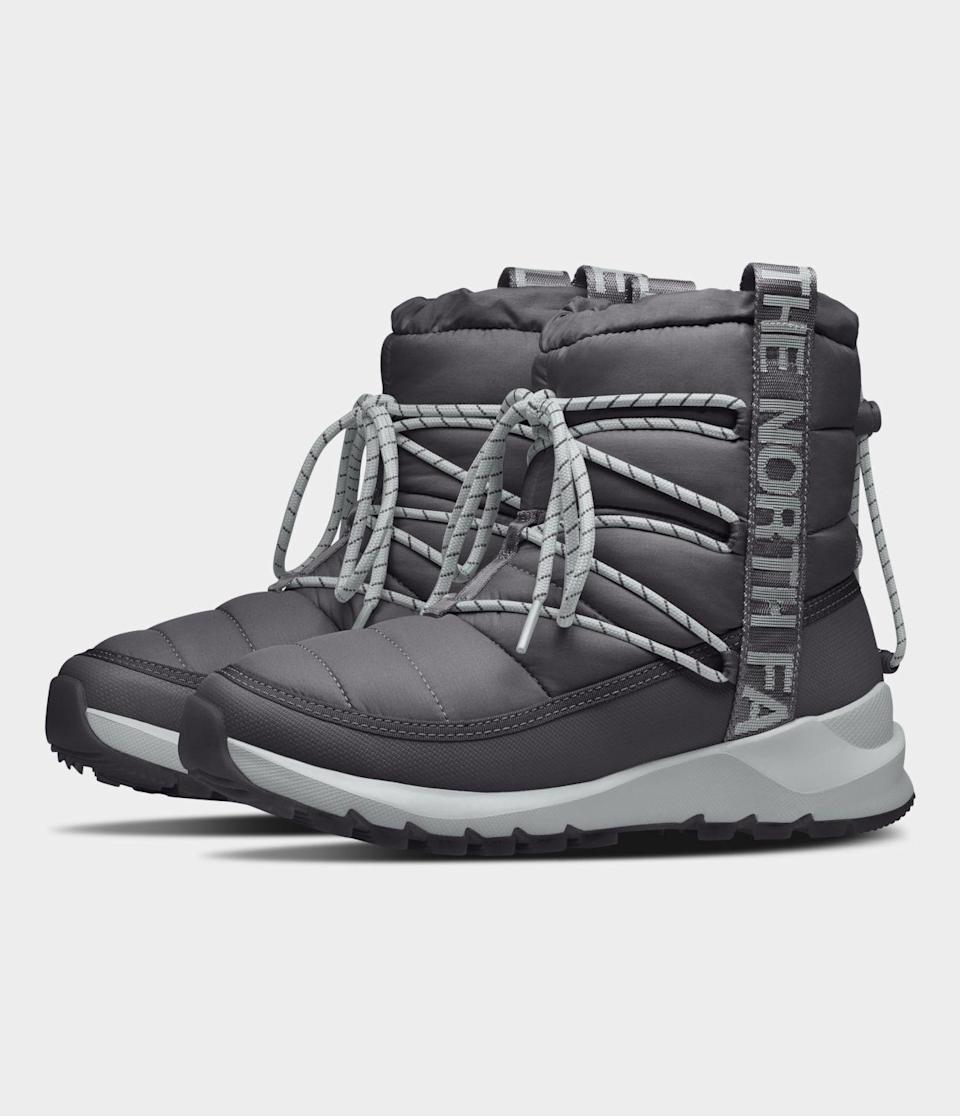 """<p><strong>The North Face</strong></p><p>thenorthface.com</p><p><strong>$110.00</strong></p><p><a href=""""https://go.redirectingat.com?id=74968X1596630&url=https%3A%2F%2Fwww.thenorthface.com%2Fshop%2Fwomens-thermoball-lace-up-nf0a4azg&sref=https%3A%2F%2Fwww.goodhousekeeping.com%2Fclothing%2Fg29389536%2Fbest-winter-boots-for-women%2F"""" rel=""""nofollow noopener"""" target=""""_blank"""" data-ylk=""""slk:Shop Now"""" class=""""link rapid-noclick-resp"""">Shop Now</a></p><p>North Face designed these booties with winter in mind, but also an attention to sustainable materials. The <strong>upper fabric is made from recycled P.E.T</strong>, so they do not waste energy producing completely new fabric and keep some materials out of landfills. Featuring Thermoball insulation and a fleece collar, these boots are meant to be warm, while the sole provides traction through icy terrain. </p>"""