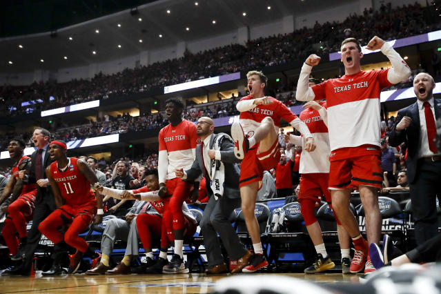 Texas Tech celebrates after the team scored against Gonzaga during the second half of the West Regional final in the NCAA men's college basketball tournament Saturday, March 30, 2019, in Anaheim, Calif. (AP Photo/Jae C. Hong)
