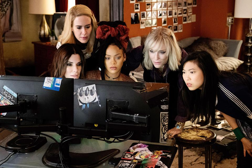 From left: Sandra Bullock, Sarah Paulson, Rihanna, Cate Blanchett, and Awkwafina in 'Ocean's 8' (Photo: Barry Wetcher/Warner Bros. Pictures/Everett Collection)