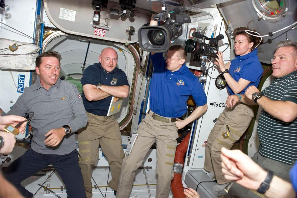 IN SPACE - MAY 18:  In this handout provided by National Aeronautics and Space Administration (NASA), STS-134 and Expedition 27 crew members are pictured in the Harmony node of the International Space Station shortly after space shuttle Endeavour and the space station docked in space and the hatches were opened, from the left are European Space Agency astronaut Roberto Vittori, STS-134 mission specialist; NASA astronaut Mark Kelly, STS-134 commander; Russian cosmonaut Dmitry Kondratyev, Expedition 27 commander; NASA astronaut Cady Coleman, Expedition 27 flight engineer; and NASA astronaut Greg H. Johnson, STS-134 pilot May 18, 2011 in space. After 20 years, 25 missions and more than 115 million miles in space, NASA space shuttle Endeavour is on its final flight to the International Space Station before being retired and donated to the California Science Center in Los Angeles. Capt. Mark E. Kelly, U.S. Rep. Gabrielle Giffords' (D-AZ) husband, will lead mission STS-134 as it delivers the Express Logistics Carrier-3 (ELC-3) and the Alpha Magnetic Spectrometer (AMS-2) to the International Space Station. (Photo by NASA via Getty Images)