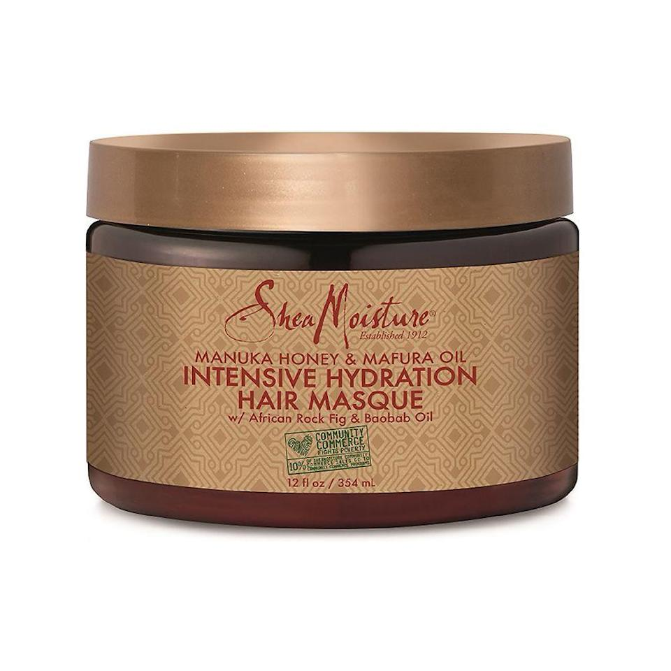 """<p><strong>SheaMoisture</strong></p><p>target.com</p><p><strong>$11.39</strong></p><p><a href=""""https://www.target.com/p/sheamoisture-community-commerce-manuka-honey-mafura-oil-intensive-hydration-hair-masque-12-oz/-/A-15651079"""" rel=""""nofollow noopener"""" target=""""_blank"""" data-ylk=""""slk:Shop Now"""" class=""""link rapid-noclick-resp"""">Shop Now</a></p><p>Hydrated hair is healthy hair, and this intensive hydration masque provides hair with a healthy dose of nutrients. The healing properties of manuka honey and mafura oil work together to replenish and hydrate dry hair reducing frizz for an overall healthier look and feel. </p>"""