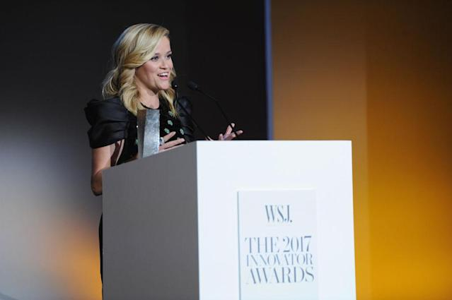 Reese Witherspoon accepts her award. (Photo: Craig Barritt/Getty Images for WSJ. Magazine 2017 Innovator Awards)