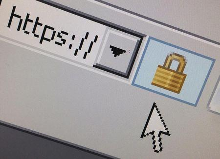 A lock icon, signifying an encrypted Internet connection, is seen on an Internet Explorer browser in Paris