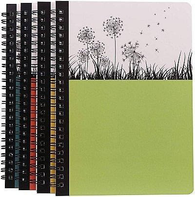 Spiral-bound journal green with flowers