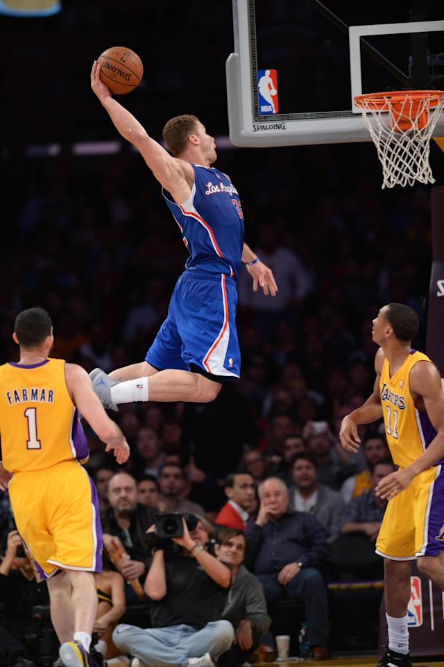 LOS ANGELES, CA - MARCH 6: Blake Griffin #32 of the Los Angeles Clippers dunks against the Los Angeles Lakers at Staples Center on March 6, 2014 in Los Angeles, California. (Photo by Noah Graham/NBAE via Getty Images)