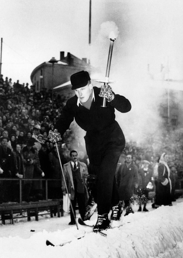 <p>The grandson of Norwegian explorer Fridtjof Nansen arrives in Oslo during the Winter Olympics in 1952 to deliver the Olympic flame. Months prior to the start of the games, the Olympic flame is first lit in Olympia, Greece. </p>