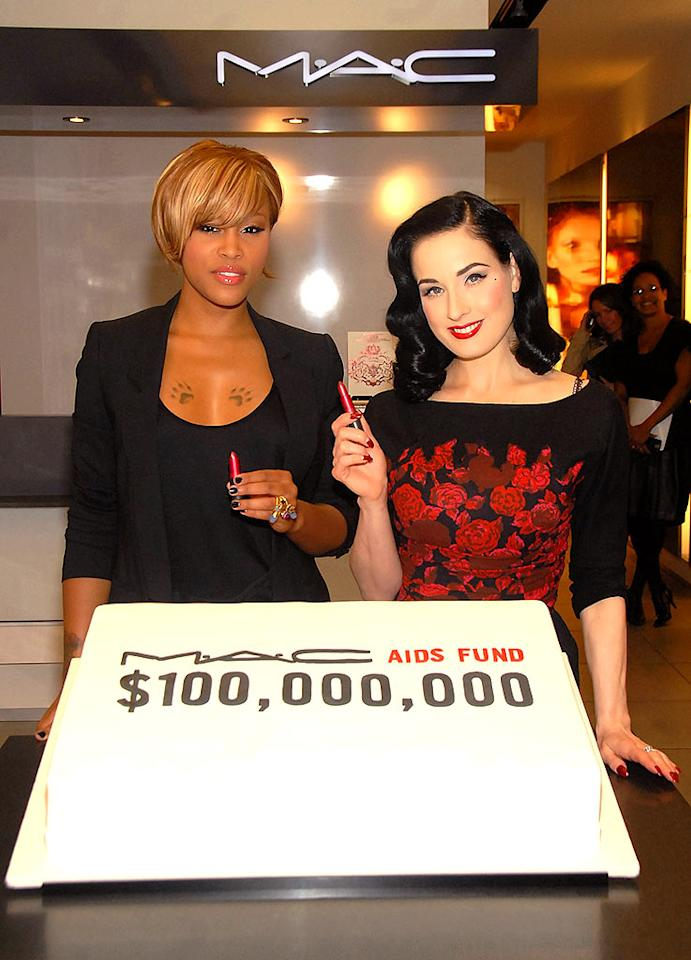 "Eve and Dita Von Teese celebrate the $100 million raised by the M.A.C. AIDS Fund. Every cent that the cosmetic company's VIVA GLAM products earn goes directly to the fund. Theo Wargo/<a href=""http://www.wireimage.com"" target=""new"">WireImage.com</a> - November 15, 2007"