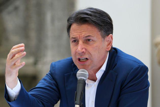 NAPLES, ITALY - 2021/06/15: The political leader of the 5 Star Movement, Giuseppe Conte, during the press conference for the presentation of the candidate for mayor of Naples, Gaetano Manfredi. (Photo by Marco Cantile/LightRocket via Getty Images) (Photo: Marco Cantile via Getty Images)