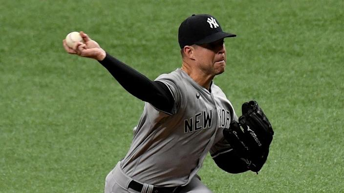 Apr 9, 2021; St. Petersburg, Florida, USA; New York Yankees pitcher Corey Kluber (28) throws a pitch in the first inning against the Tampa Bay Rays at Tropicana Field.