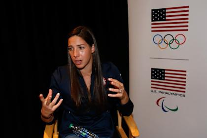 Maya DiRado talks with media at the USOC Olympic Media Summit on March 8. (Getty)