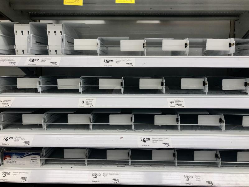 Shelves where disinfectant wipes ,toilet tissues, bottled water, flu medicines are usually displayed are nearly empty at a local store on March 03, 2020 in Rhodes area ,Sydney, Australia. As fear of the Coronavirus are spreading, people are buying above products in abundance. (Photo by Izhar Khan/NurPhoto via Getty Images)