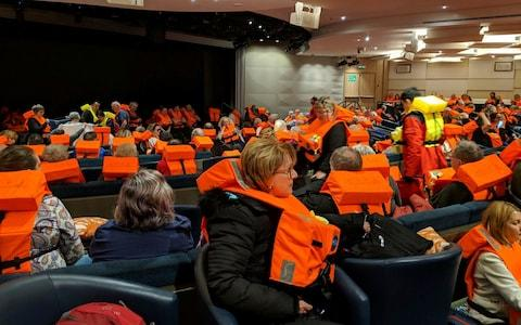 Passengers on board the Viking Sky, waiting to be evacuated, off the coast of Norway on Saturday - Credit:  Michal Stewart