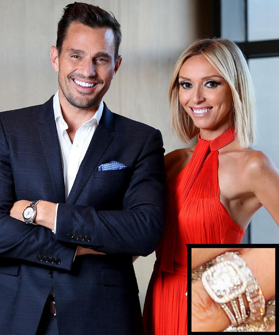 <p>The television reporter was proposed to by <em>The Apprentice</em> winner, Bill Rancic while on a helicopter ride. The Graff cusion-cut diamond has a triple band and is around four carats in size.</p>