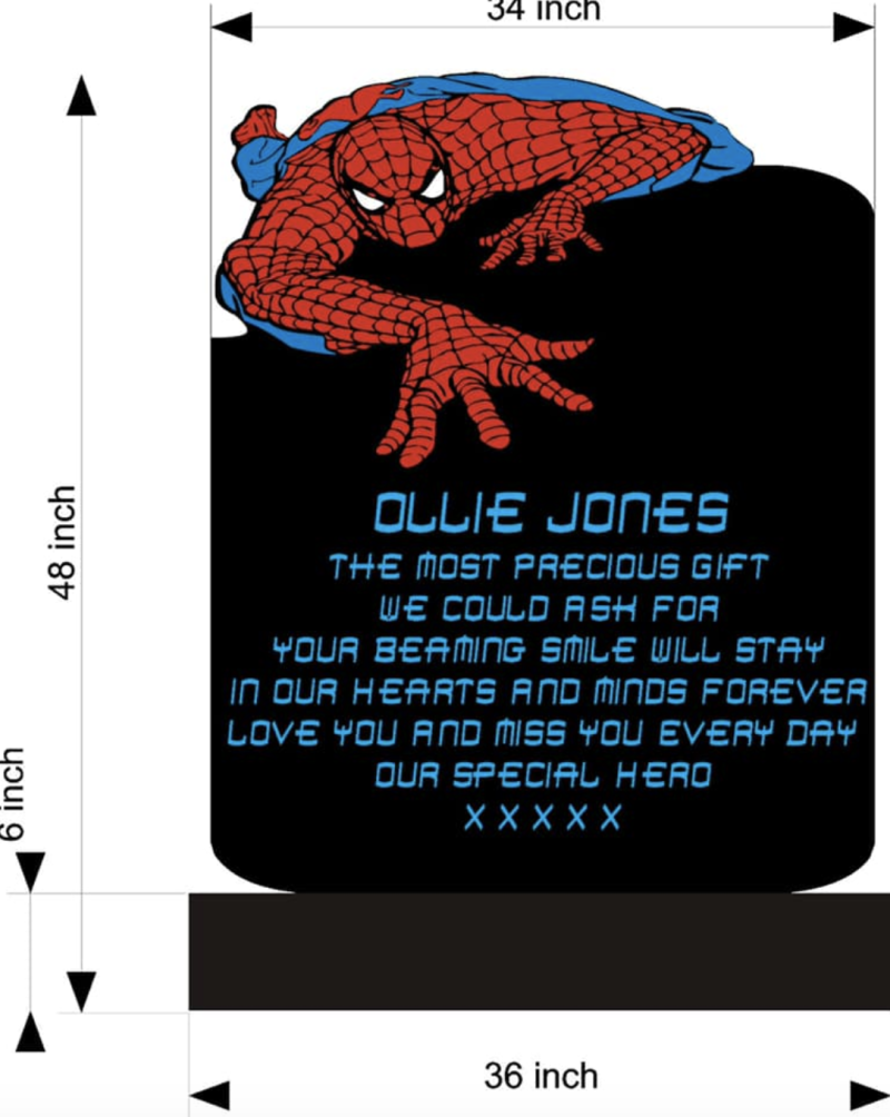 A drawing of what Ollie Jones's tombstone would look like if permission to include Spider-Man is granted. (Photo: Jason Jones via Facebook)