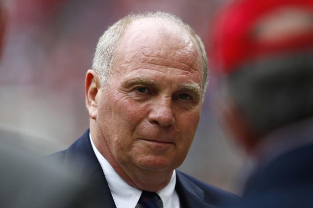 File photo of Bayern Munich's president Uli Hoeness before the Uli Hoeness Cup friendly soccer match between Bayern Munich and Barcelona in Munich July 24, 2013. Hoeness, one Germany's most admired managers before admitting he hid millions of euros in Swiss bank accounts, goes on trial March 10, 2014, on tax evasion charges in a case that shocked the nation and eroded tolerance of cheats. The 62-year-old Hoeness, who helped turn Bayern Munich into one of the world's most respected soccer dynasties that also won the 2013 Champions League title, has admitted he evaded taxes. He has since paid the back taxes and fines he owed. But he was still charged in July with tax evasion after a long investigation and could still be convicted and possibly sentenced to jail by a Munich state court. REUTERS/Michaela Rehle/Files (GERMANY - Tags: SPORT SOCCER HEADSHOT)