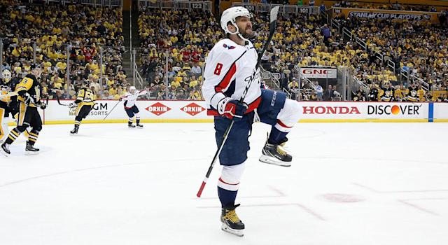 Alex Ovechkin celebrates after scoring the game-winning goal. (Photo by Kirk Irwin/Getty Images)