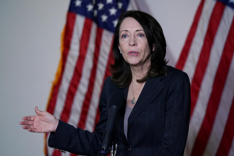 U.S. Sen. Maria Cantwell (D-WA) speaks during a news conference after the first Democratic luncheon meeting since COVID-19 restrictions went into effect on Capitol Hill in Washington, U.S. April 13, 2021. REUTERS/Erin Scott