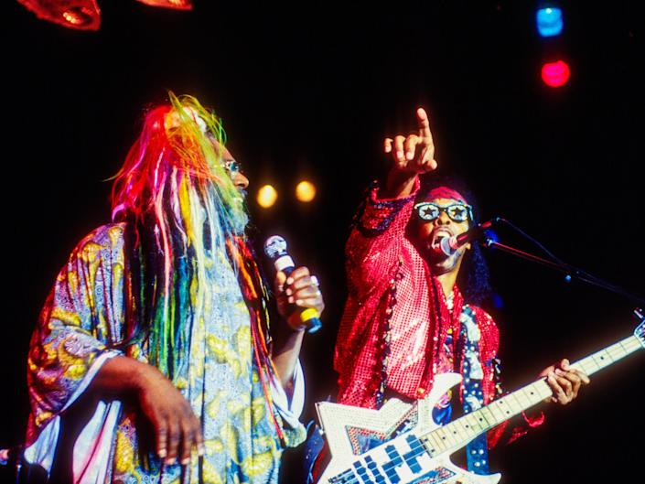 George Clinton (left) playing with Bootsy Collins on July 4, 1996.