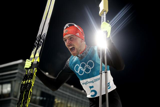 Nordic Combined Events - Pyeongchang 2018 Winter Olympics - Men's Individual 10 km Final - Alpensia Cross-Country Skiing Centre - Pyeongchang, South Korea - February 20, 2018 - Gold medalist, Johannes Rydzek of Germany celebrates. REUTERS/Kai Pfaffenbach