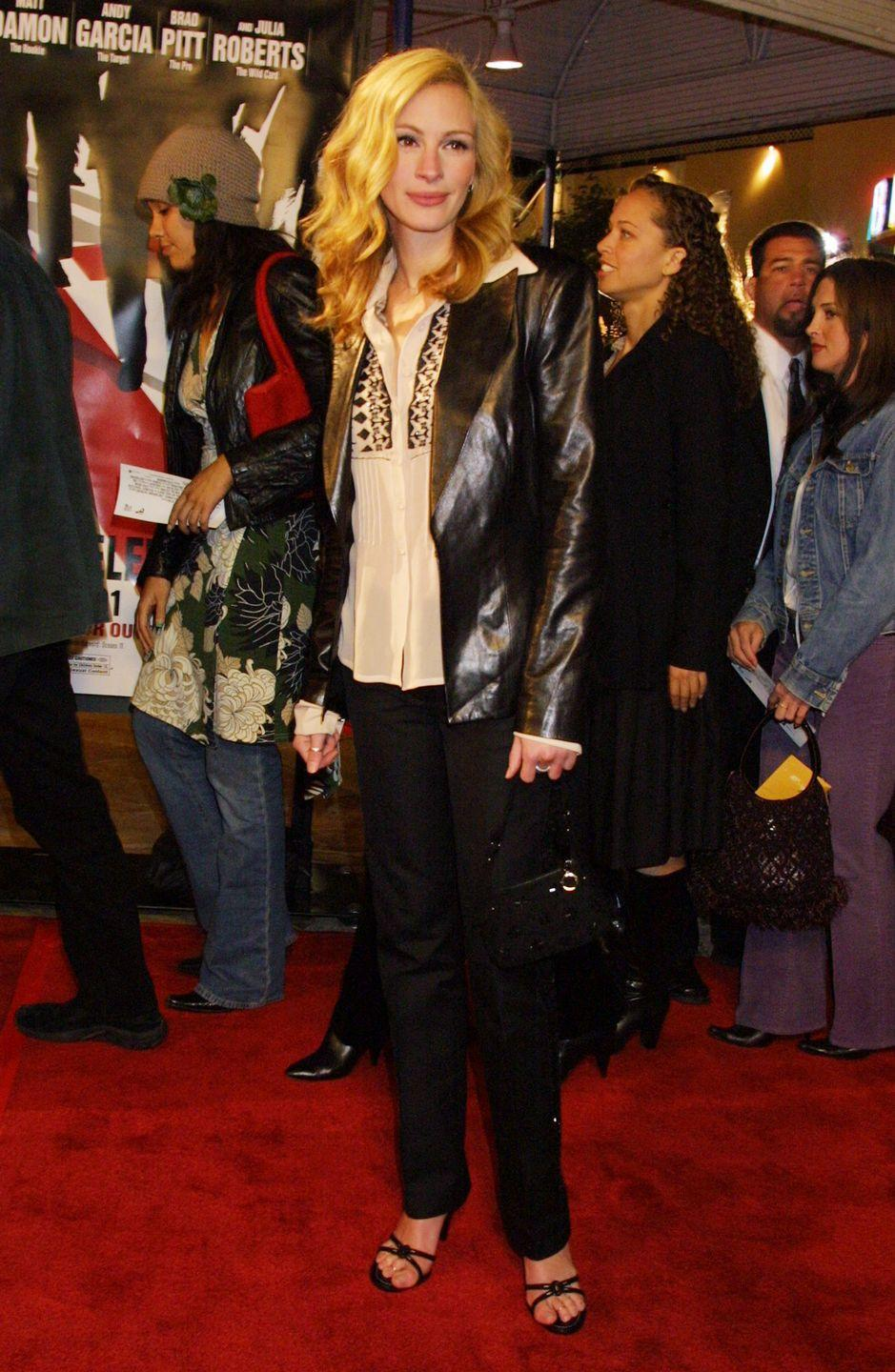 <p>Delicate straps that crisscrossed over your toes were everywhere in 2001, and Julia Roberts took the hint, wearing these black heels to the <em>Ocean's Eleven</em> premiere in Westwood, California.</p>