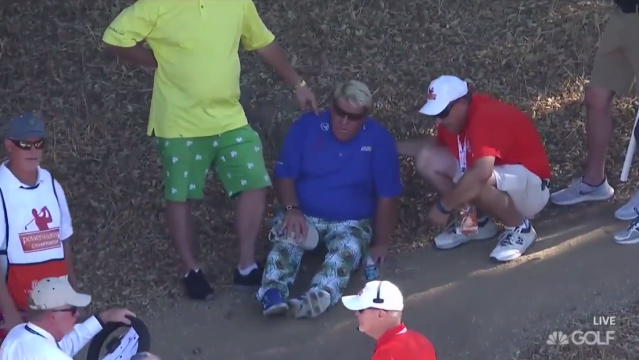 John Daly in pain on the course. (Via screen shot)