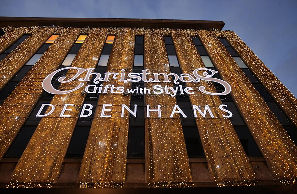 LONDON - NOVEMBER 27: Exterior view of the Debenhams department store on Oxford Street on November 27, 2008 in London, England. The store is holding a two day 20% Off sale to entice Christmas shoppers in a difficult season for retailers as the global credit crisis begins to affect the high street. (Photo by Oli Scarff/Getty Images)