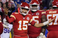 FILE - Kansas City Chiefs quarterback Patrick Mahomes reacts during the second half of an NFL football game against the Buffalo Bills in Kansas City, Mo., in this Sunday, Oct. 10, 2021, file photo. The Chiefs are tied for the most turnovers in the league after two fumbles and two interceptions last week. Washington's defense is perhaps in the most trouble facing Patrick Mahomes with the quarterback looking to atone for his recent mistakes. (AP Photo/Ed Zurga, File)